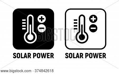 Solar Energy Power Icon. Solar Battery Green Power Clean Charge Sun Heat Vector Icon