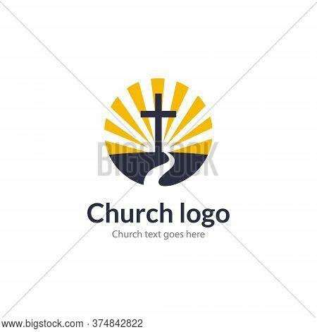 Logo Church Road Cross Jesus Mountain Catholic Dove Religion. Worship Pray Church Logo