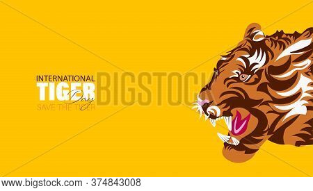 Vector Illustration Of International Tiger Day 29th July, An Annual Celebration To Raise Awareness F