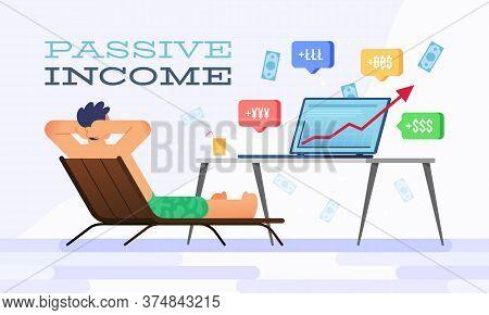 Vector Illustration Happy Businessman And Passive Income