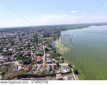 Aerial view  to sea estuaries (drone image) near Odessa. Black Sea