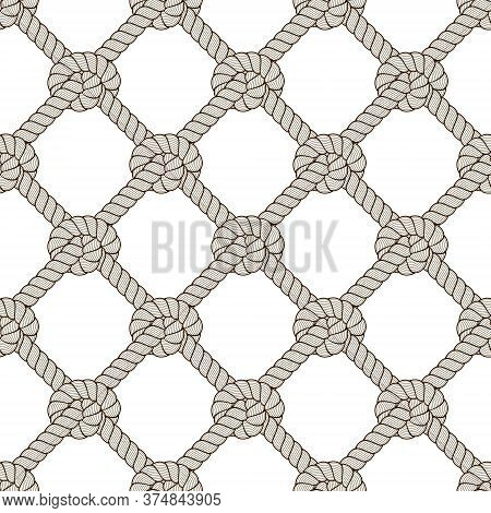 Rope Seamless Pattern, Trendy Vector Wallpaper Background. Endless Navy Illustration With Fishing Ne