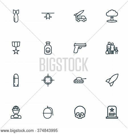 Army Icons Line Style Set With Artillery, Rocket, Medal And Other Target Elements. Isolated Vector I
