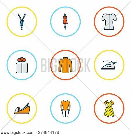 Style Icons Colored Line Set With Turtleneck Sweater, Long Sleeve Body, Iron And Other Fastener Elem