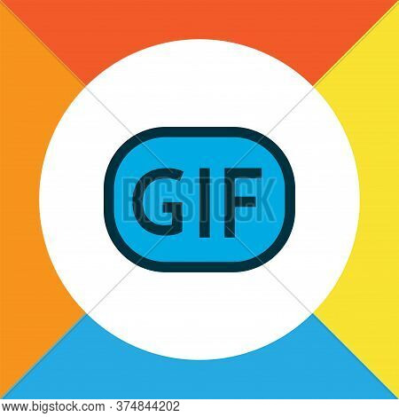 Gif Sticker Icon Colored Line Symbol. Premium Quality Isolated Animation Element In Trendy Style.