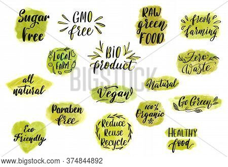 Healthy Organic Food Hand Drawn Lettering. Eco Vegan Label Or Badge. Vector Illustration.