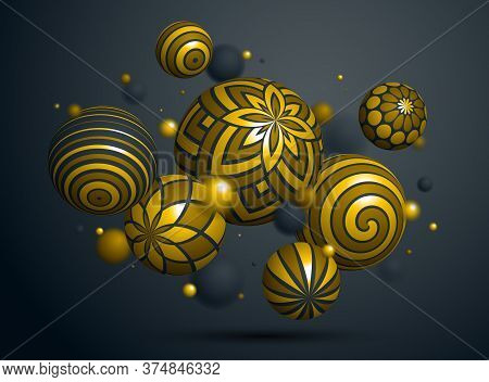 Abstract Golden Spheres Vector Background, Composition Of Flying Balls Decorated With Patterns Of Sh