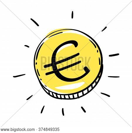 One Euro Coin Of Euro European Union Money. Gold Penny Coin Shining Currency Symbol. Best Offer And