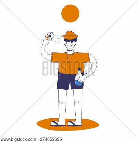 Man Uses A Mini Fan And Holds Water In His Hand, Protection From Heat And Heat Shock. Vector Illustr