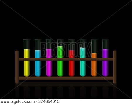 Chemical Substances. Neon Colored Fluorescent Toxic Liquids In A Test Tube Rack. Wooden Holder With