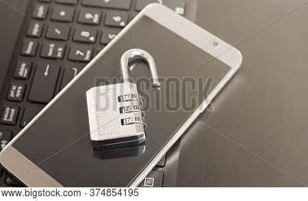 Metallic Lock On Keyboard And Phone Open Case, Password Security Concept