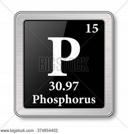 Phosphorus Symbol.chemical Element Of The Periodic Table On A Glossy Black Background In A Silver Fr