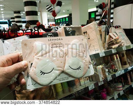 Paris, France - Dec 19, 2017: Pov Woman Hands Holding Sephora Winter Wonderland Fox Sleep Mask Moder