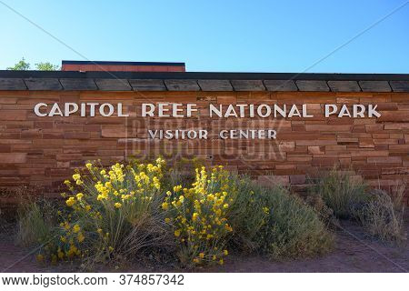 Capitol Reef National Park, United States: October 6, 2019: Capitol Reef Visitors Center Wall