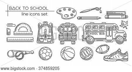Back To School Line Icon Set. Education, Learning And School. Black And White Symbol Collection. Vec