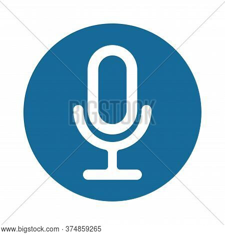 Microphone Icon Vector. Voice Icon Symbol Illustration.  Microphone For Voice Recording. Flat Design