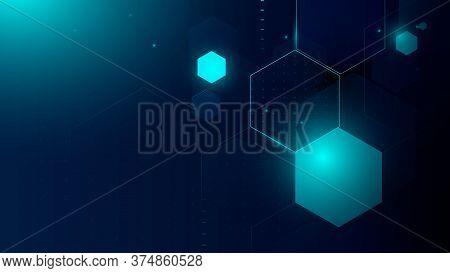 Abstract Technology, Futuristic Digital Hi Tech Concept.  Abstract Hexagonal Molecule Background. Sc