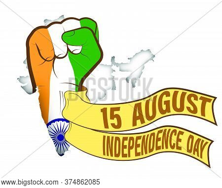 Independence Day. Hand Clenched In Style Of The Indian Flag With Holiday Ribbons. Struggle For Sover
