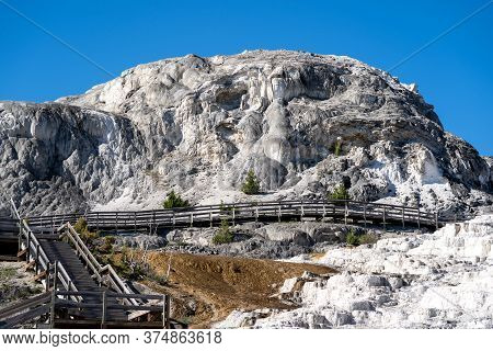 Boardwalks Among The Lower Terraces Of Mammoth Hot Springs Termal Area Of Yellowstone National Park