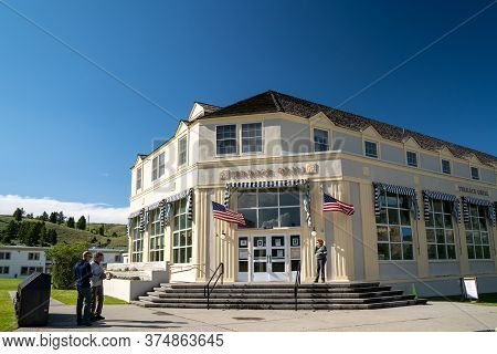 Yellowstone National Park, Wyoming - July 2, 2020: The Terrace Grill, A Historical Building That Is