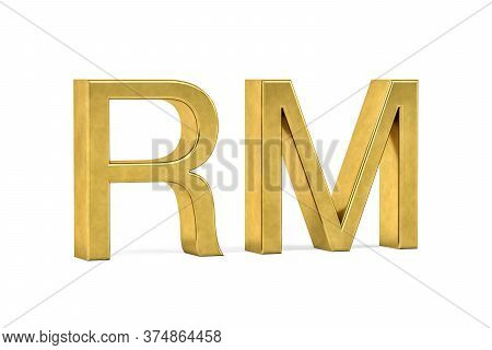 Golden Malaysian Ringgit Sign Isolated On White Background - 3d Render