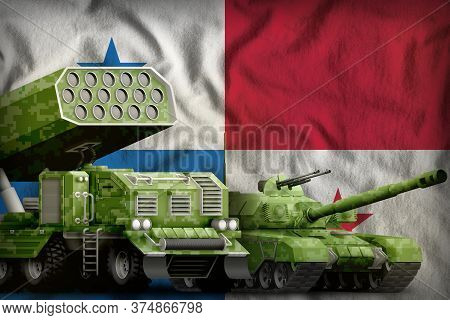 Tank And Rocket Launcher With Summer Pixel Camouflage On The Panama Flag Background. Panama Heavy Mi