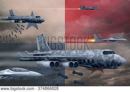 Panama Bomb Air Strike Concept. Modern Panama War Airplanes Bombing On Flag Background. 3d Illustrat