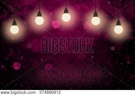 Pink Nice Brilliant Abstract Background Glitter Lights With Light Bulbs And Falling Snow Flakes Fly