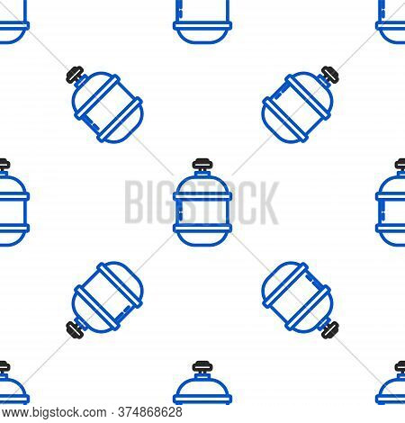 Line Propane Gas Tank Icon Isolated Seamless Pattern On White Background. Flammable Gas Tank Icon. C