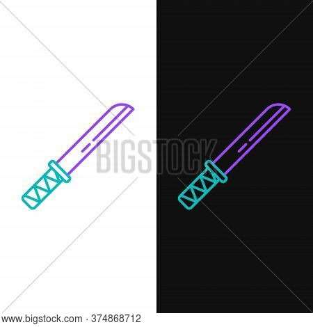Line Traditional Japanese Katana Icon Isolated On White And Black Background. Japanese Sword. Colorf