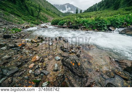 Scenic Landscape With Big Stones Near Mountain River. Powerful Water Stream Among Boulders In Mounta