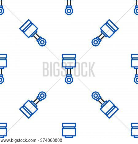 Line Engine Piston Icon Isolated Seamless Pattern On White Background. Car Engine Piston Sign. Color
