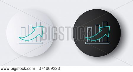 Line Financial Growth And Coin Icon Isolated On Grey Background. Increasing Revenue. Colorful Outlin