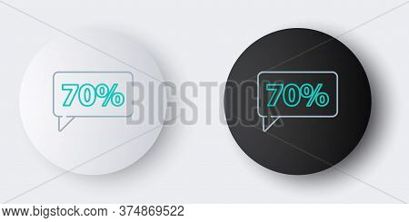 Line Seventy Discount Percent Tag Icon Isolated On Grey Background. Shopping Tag Sign. Special Offer