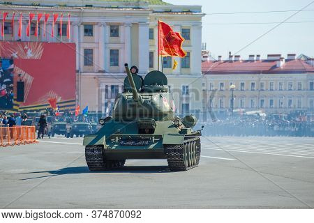 Saint Petersburg, Russia - June 24, 2020: Soviet Tank Т-34 On The Military Parade In Honor Of Victor