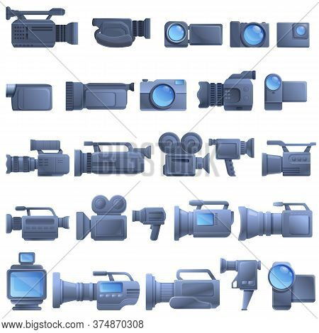 Camcorder Icons Set. Cartoon Set Of Camcorder Vector Icons For Web Design