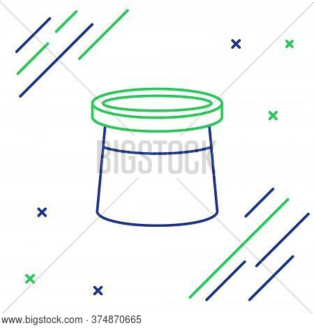 Line Magician Hat Icon Isolated On White Background. Magic Trick. Mystery Entertainment Concept. Col
