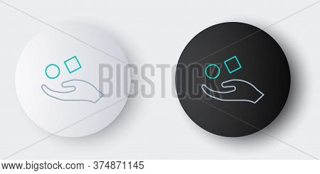 Line Cube Levitating Above Hand Icon Isolated On Grey Background. Levitation Symbol. Colorful Outlin