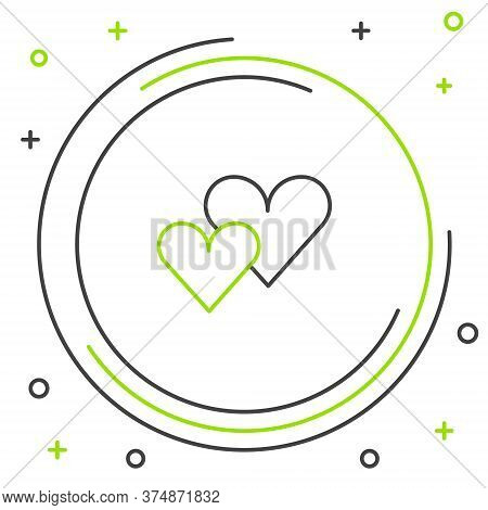 Line Heart Icon Isolated On White Background. Romantic Symbol Linked, Join, Passion And Wedding. Val