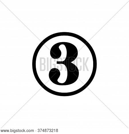 Number 3 Icon Simple Vector Sign And Modern Symbol. Number 3 Vector Icon Illustration, Editable Stro