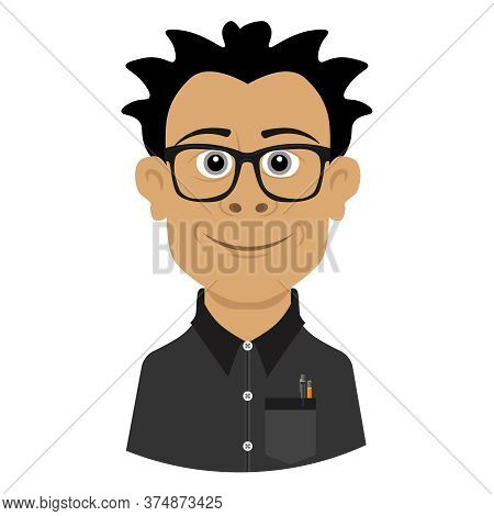 A Genius With A Disheveled Hairdo And Horn-rimmed Glasses. Vector Man Illustration On White Backgrou