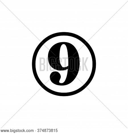 Number 9 Icon Simple Vector Sign And Modern Symbol. Number 9 Vector Icon Illustration, Editable Stro