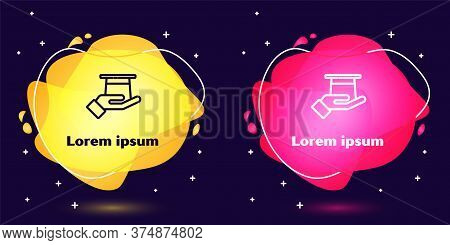 Set Line Magician Hat In Hand Icon Isolated On Blue Background. Magic Trick. Mystery Entertainment C