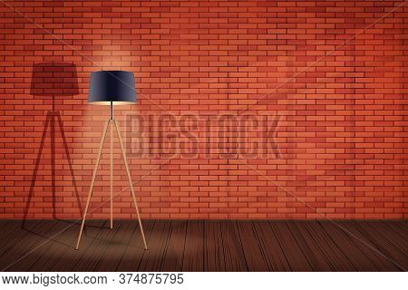 Interior Of Red Brick Wall And Tripod Floor Lamp. Background Of Loft And Trendy Showroom Or Cafe. De