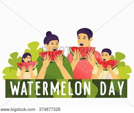 Happy Family Eating A Watermelon. Attractive Illustration For Watermelon Day. Pieces Of Watermelon I