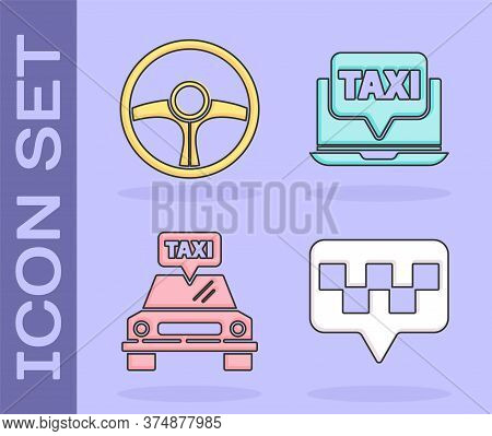 Set Map Pointer With Taxi, Steering Wheel, Taxi Car And Laptop Call Taxi Service Icon. Vector