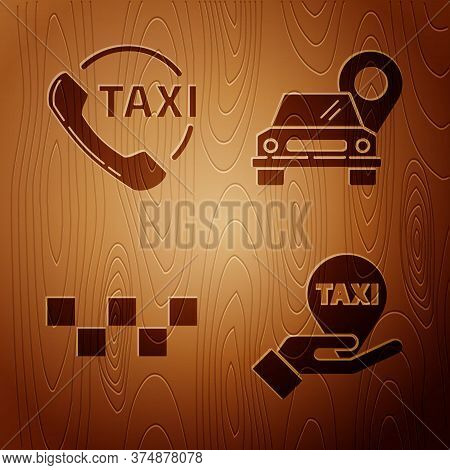 Set Hand On Map Pointer With Taxi, Taxi Call Telephone Service, Taxi Car Roof And Map Pointer With T