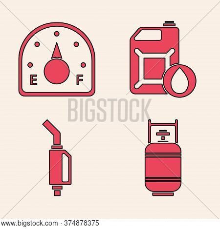 Set Propane Gas Tank, Motor Gas Gauge, Canister For Motor Machine Oil And Gasoline Pump Nozzle Icon.
