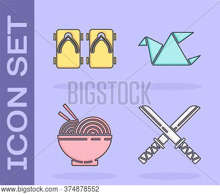 Set Traditional Japanese Katana, Geta Traditional Japanese Shoes, Asian Noodles In Bowl And Chopstic