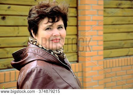Concept Of Life Modern Older Woman, Lifestyle Citizen Peoples, Lady At Spring Or Autumn Day. Mature